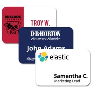 "2"" x 3"" Matte Plastic Name Badge w/Full Color Imprint & Personalization"